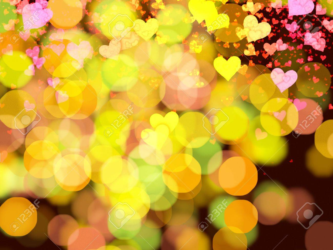 Abstract Background With Hearts and Lights Illustration Stock Illustration - 13579440