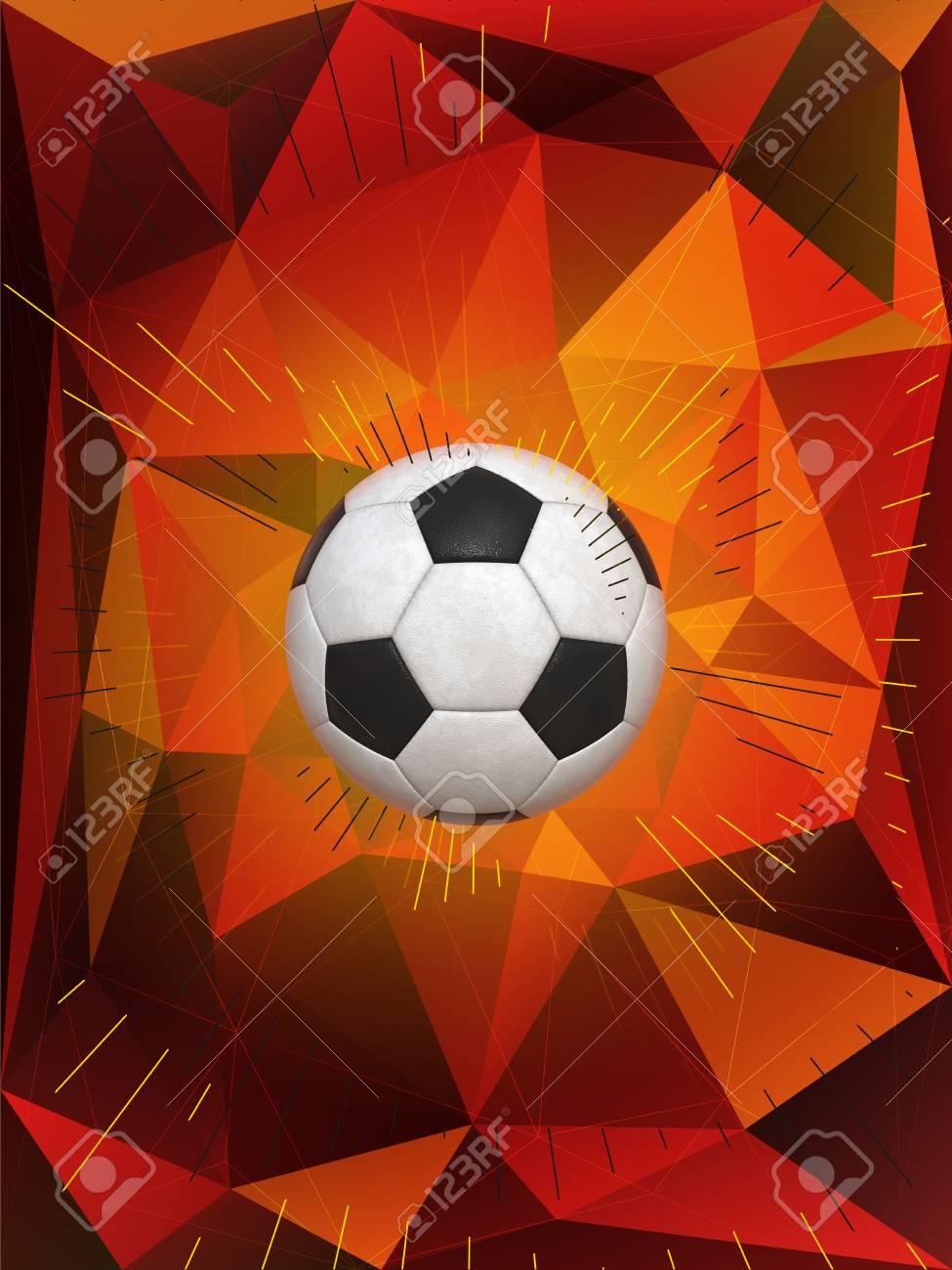 Fußball über Polygonal Dynamische Hintergrund Mit Farben Der ...
