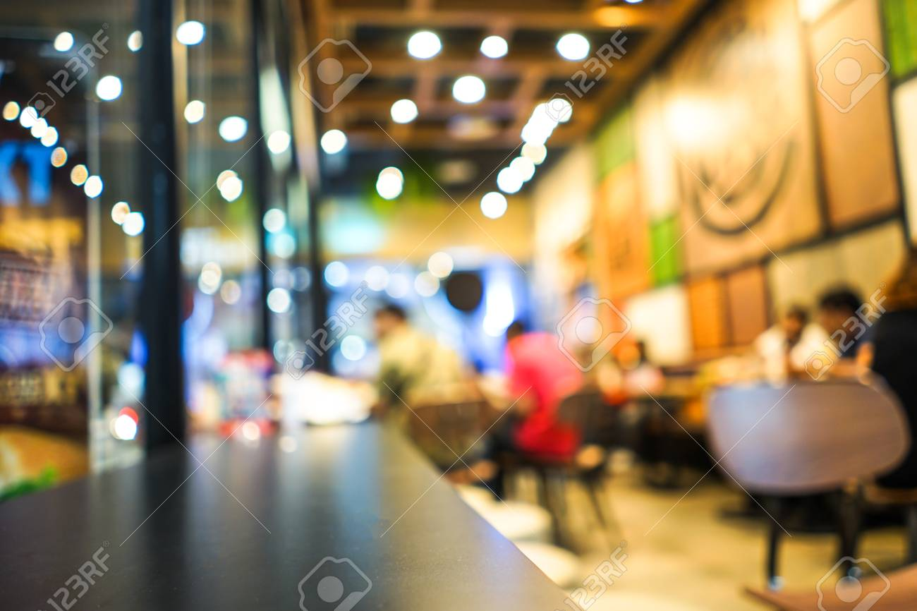 Blurred Restaurant With Bokeh Light Of People In Fast Food Shop Stock Photo Picture And Royalty Free Image Image 91841122
