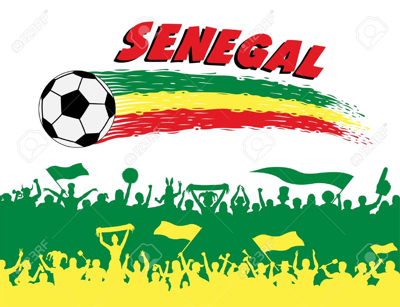 db4003a573c Senegal flag colors with soccer ball and Senegalese supporters silhouettes.  All the objects