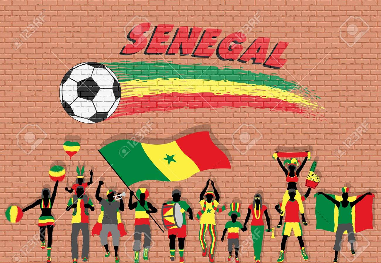 Senegalese Football Fans Cheering With Senegal Flag Colors In