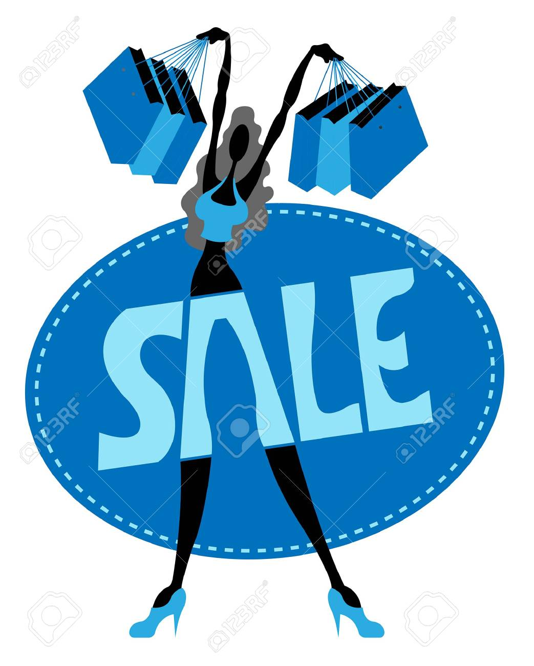 Sale logo with shopaholic silhouette and fabric symbol  All fonts