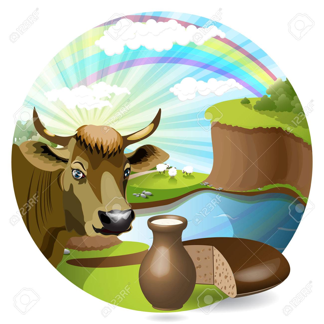 milk and cow Stock Vector - 7574165