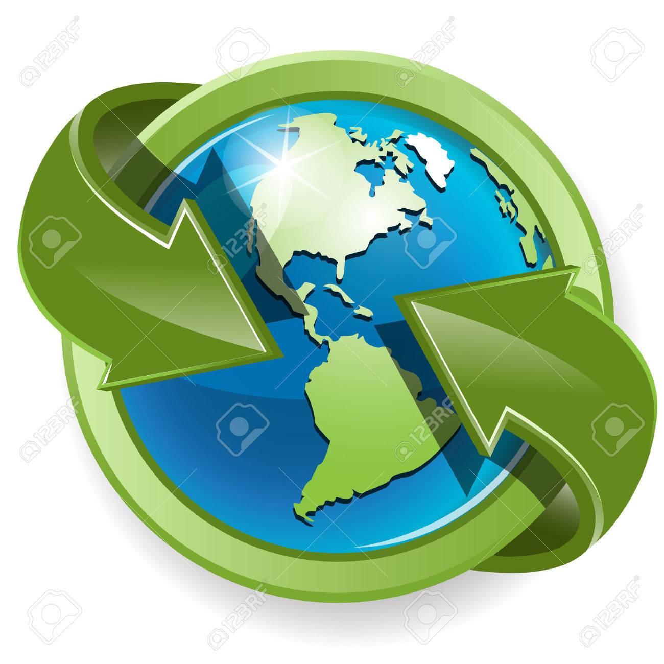 globe and green arrows Stock Vector - 7601329