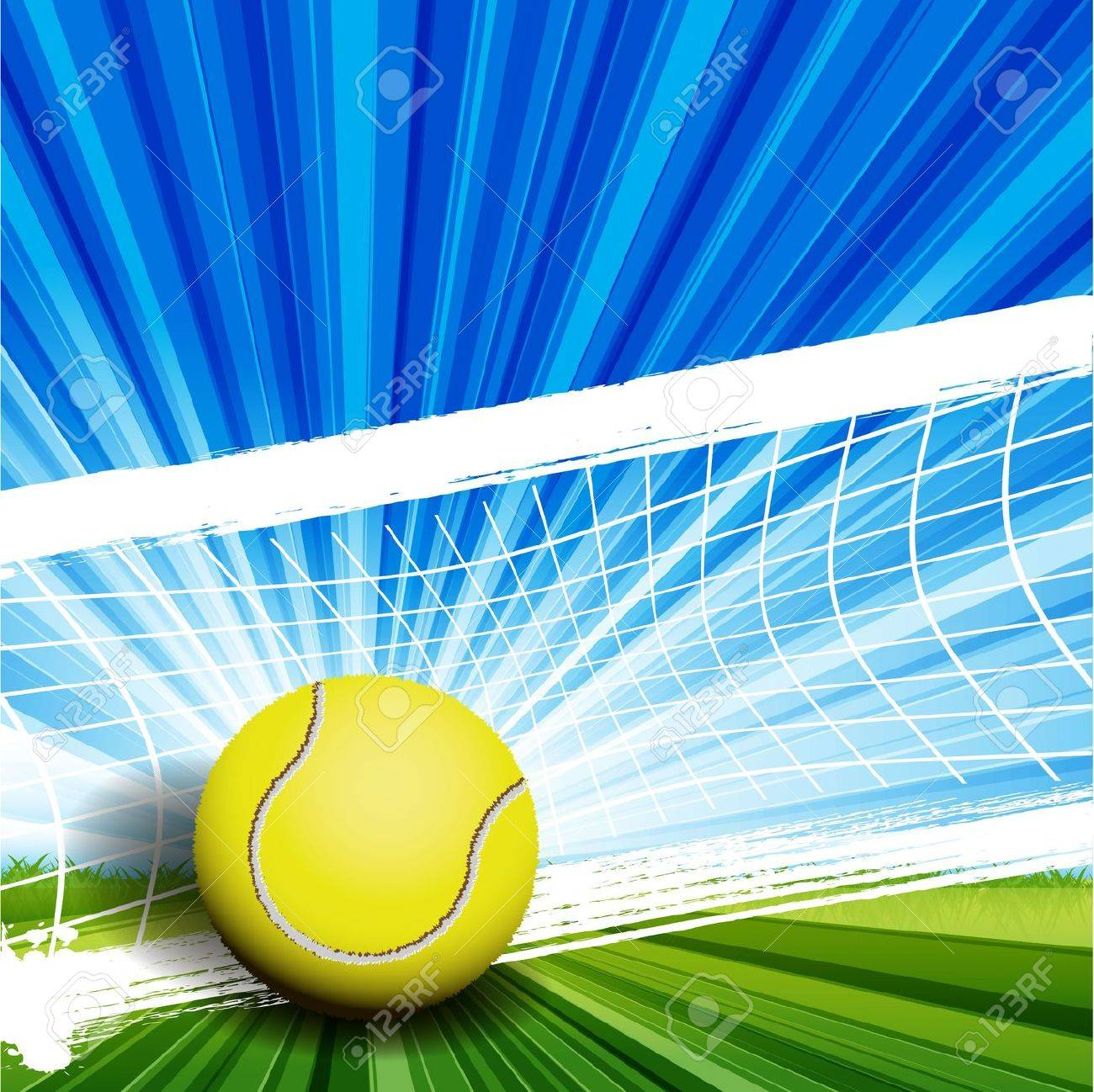 illustration, tennis ball on abstract green background Stock Vector - 10084207
