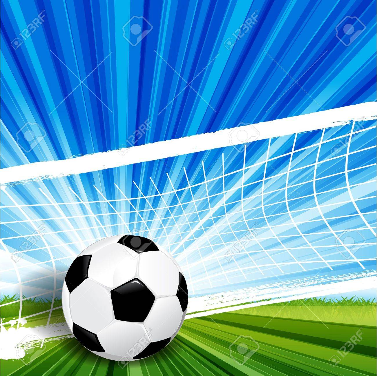 Illustration, leather soccer ball on green herb - 10084210