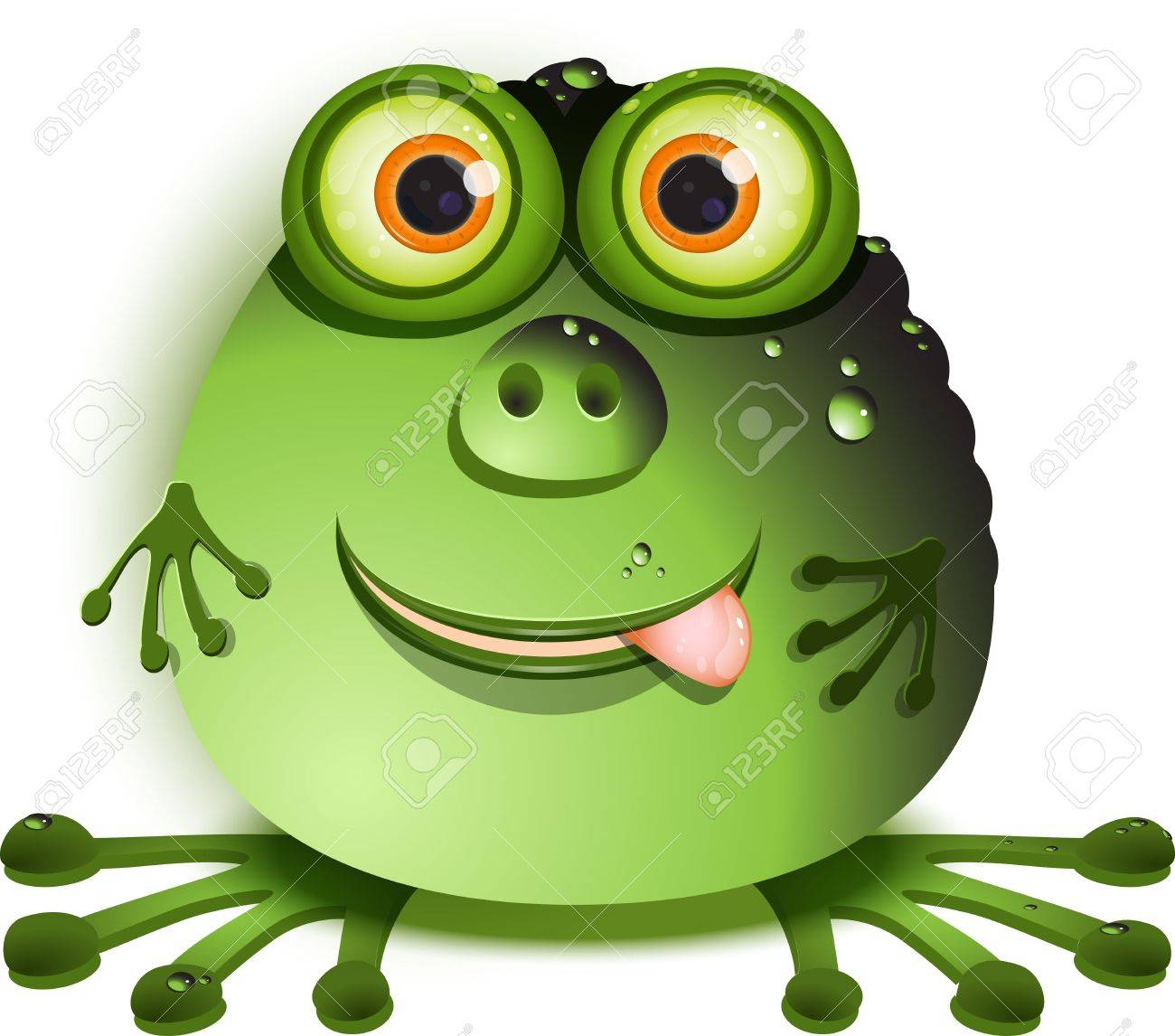 illustration, merry green monster with greater eye Stock Vector - 10140713