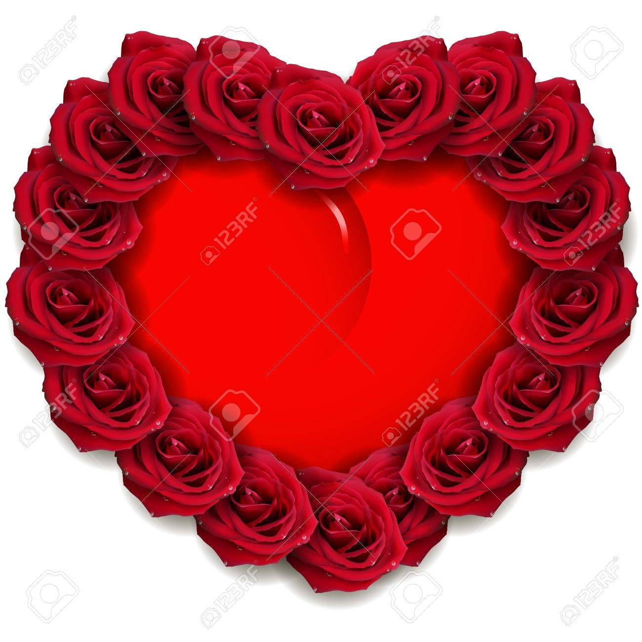 illustration, red roses around a red heart Stock Vector - 11970320