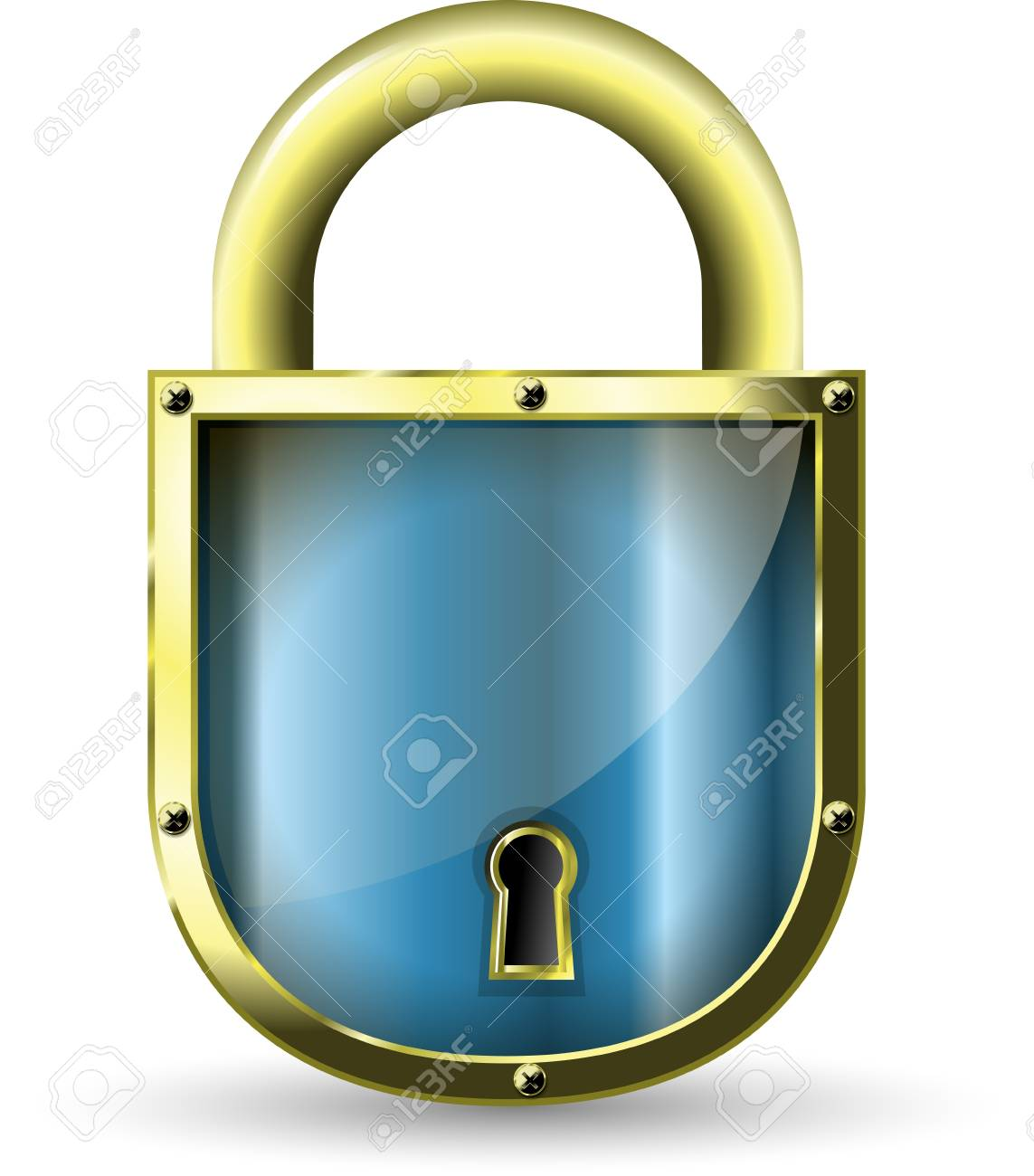 illustration of a metal padlock with a blue Stock Vector - 12773816