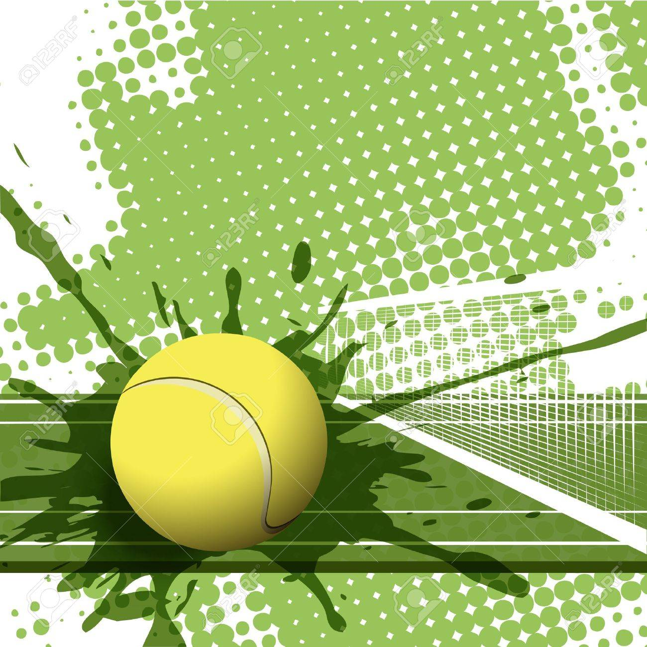 Illustration Tennis Ball On Abstract Green Background Royalty Free