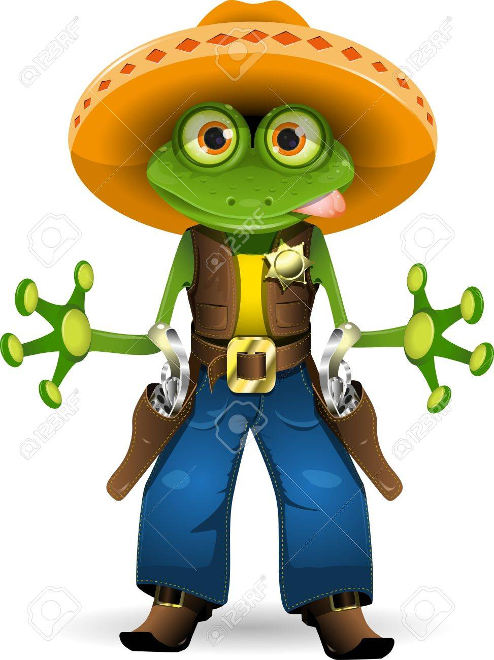 illustration of a frog dressed as sheriff Stock Vector - 13168464