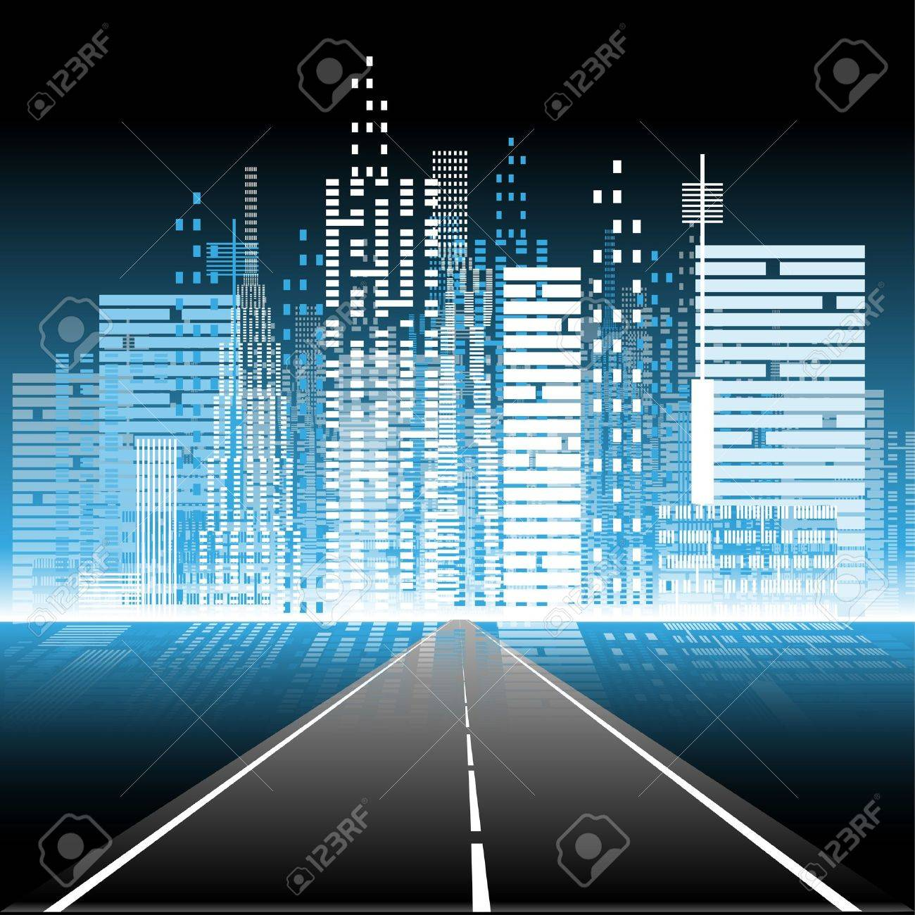 illustration the road to the city nightlife Stock Vector - 15122188