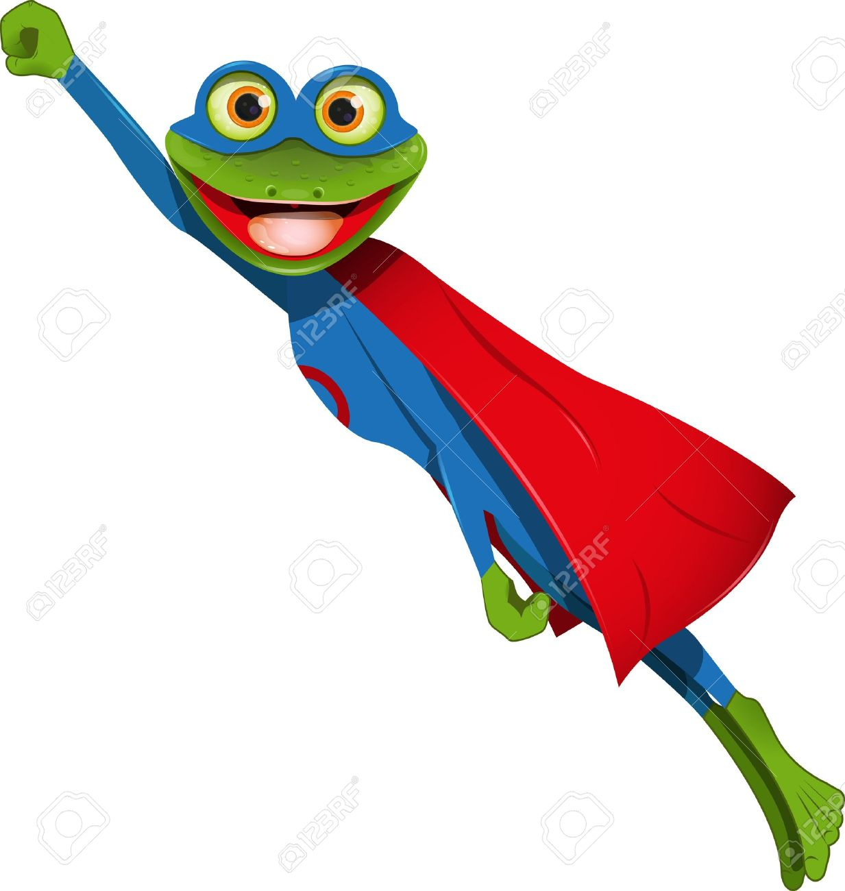 frog superhero in a mask and a blue cape - 15424159