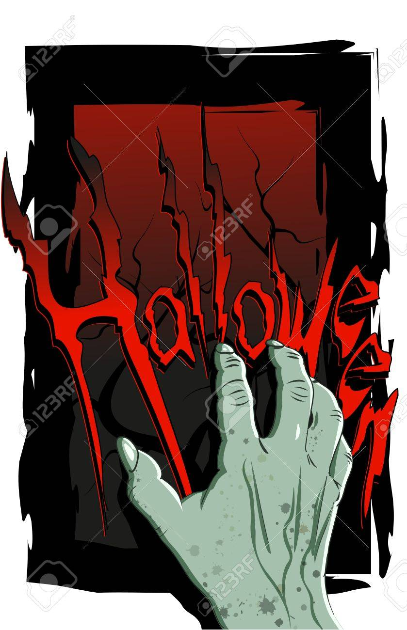 Halloween flyer with a scary zombie hand Stock Vector - 15758308