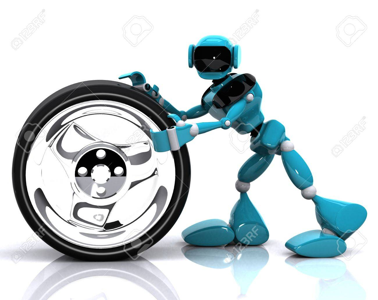 3d illustration of a blue robot and wheel on white background Stock Illustration - 16108503