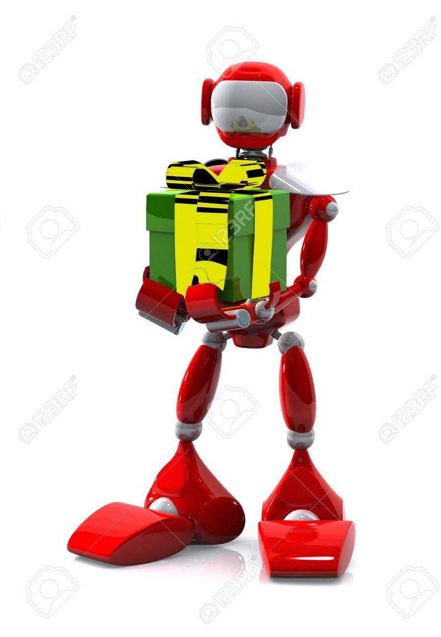 3d illustration robot with a gift on white background Stock Photo - 16232225