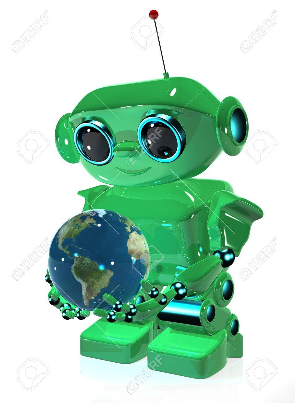 3d illustration green robot with antenna and globe Stock Photo - 16232228