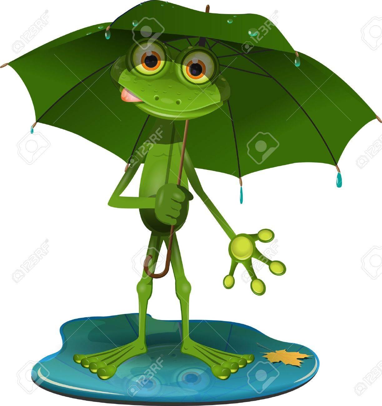 Article n°2 : Moyen de transport dans La quotidienne - 17444276-grenouille-illustration-vert-avec-un-parapluie-vert-Banque-d'images