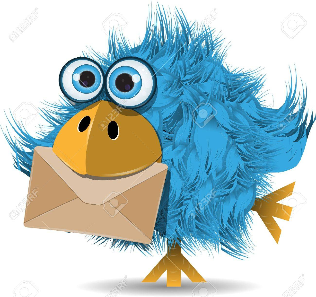 illustration, very funny  blue bird with envelope Stock Vector - 17881309