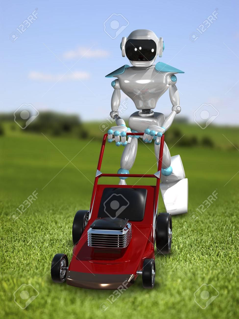 3d-illustration eines roboter mit rasenmäher lizenzfreie fotos