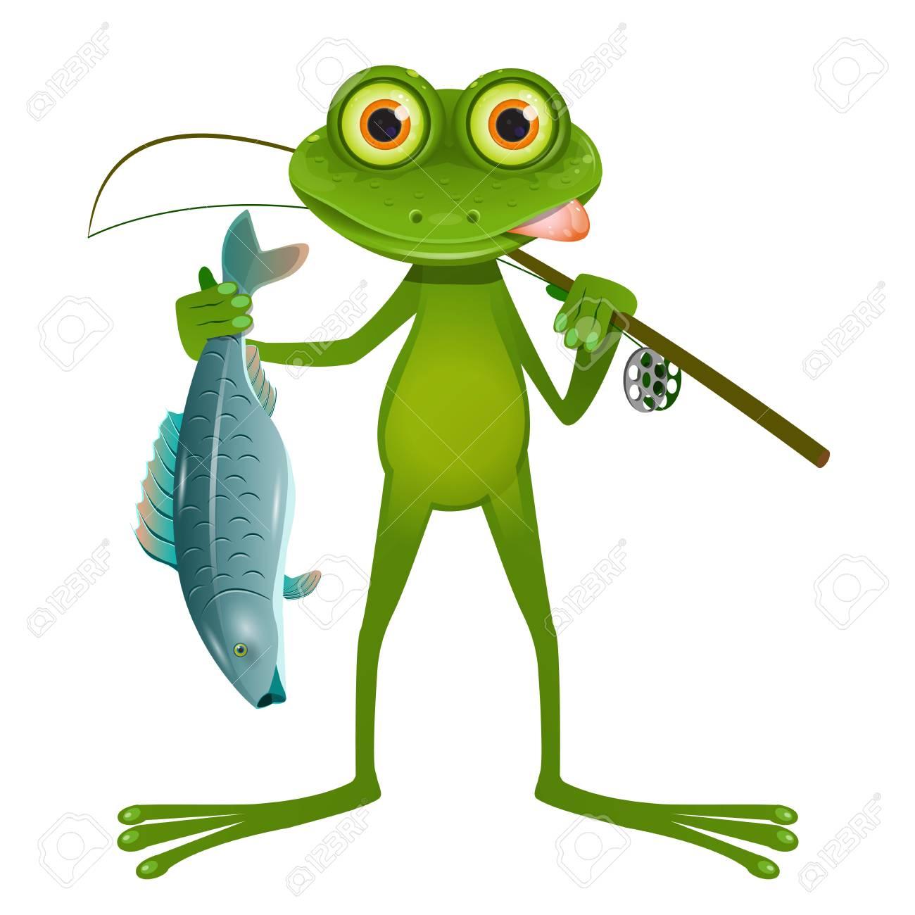 Illustration Goggle-eyed Frog Fisherman on a White Background - 91525230