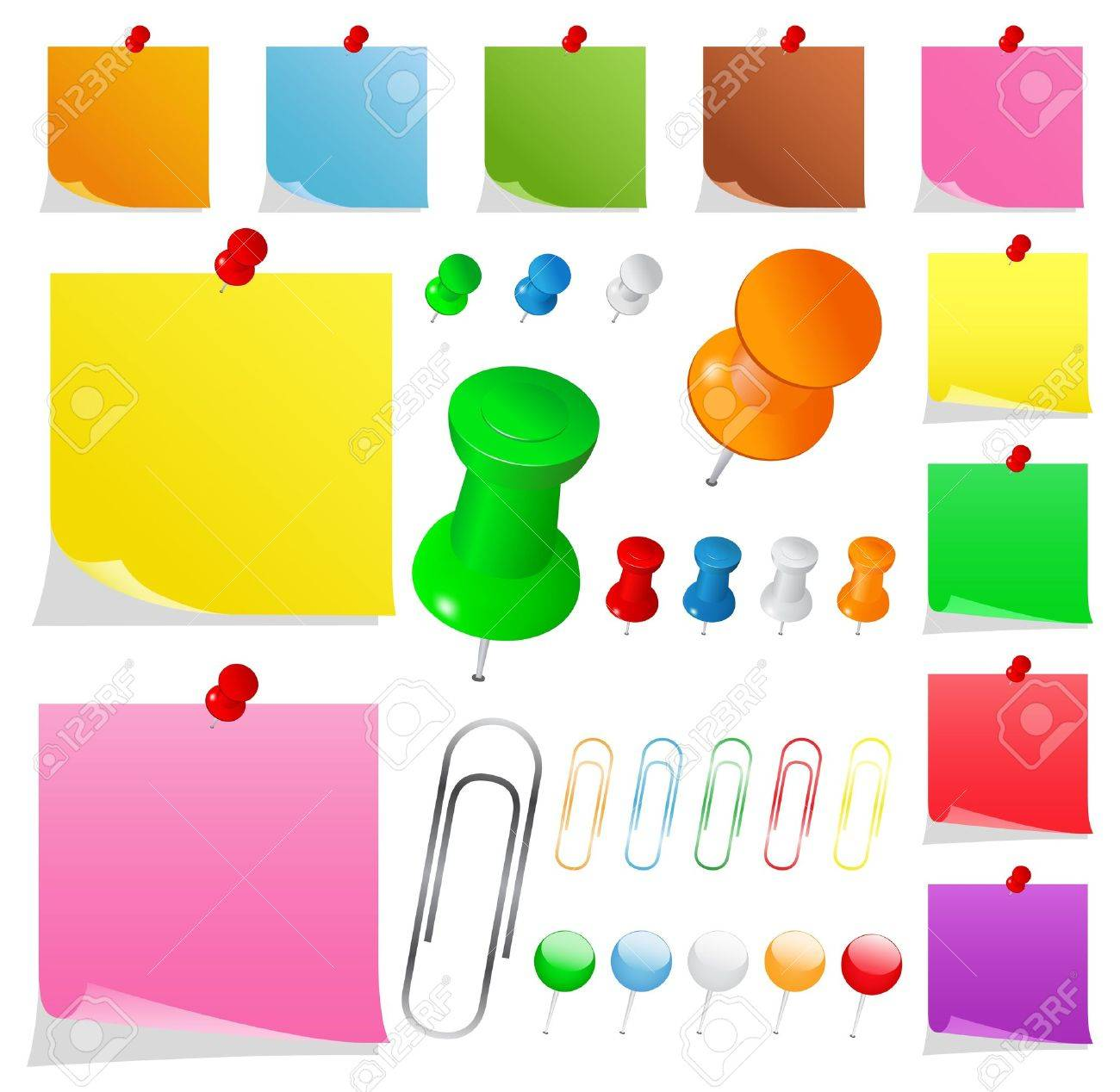 Colorful Paper Notes with Pushpins and Clips Stock Vector - 9398620