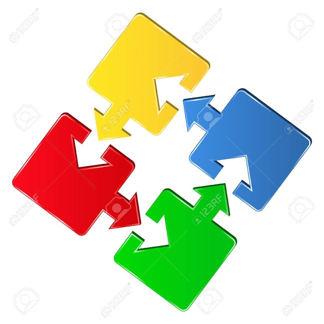 puzzle pieces with arrows Stock Vector - 10428444