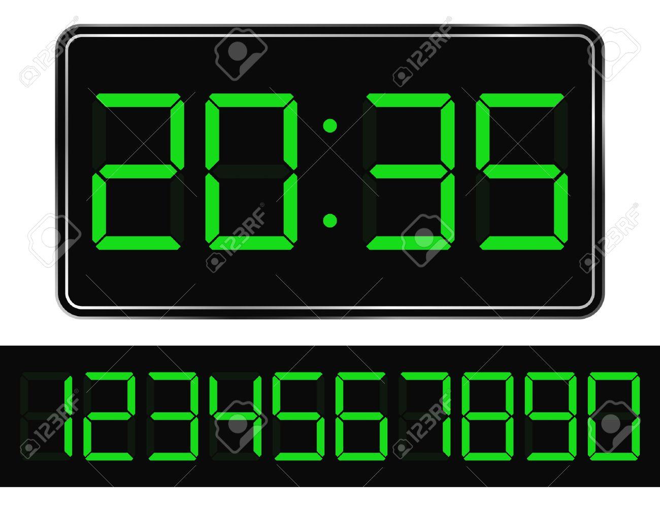 Vector Green Digital Clock Stock Vector - 10569806
