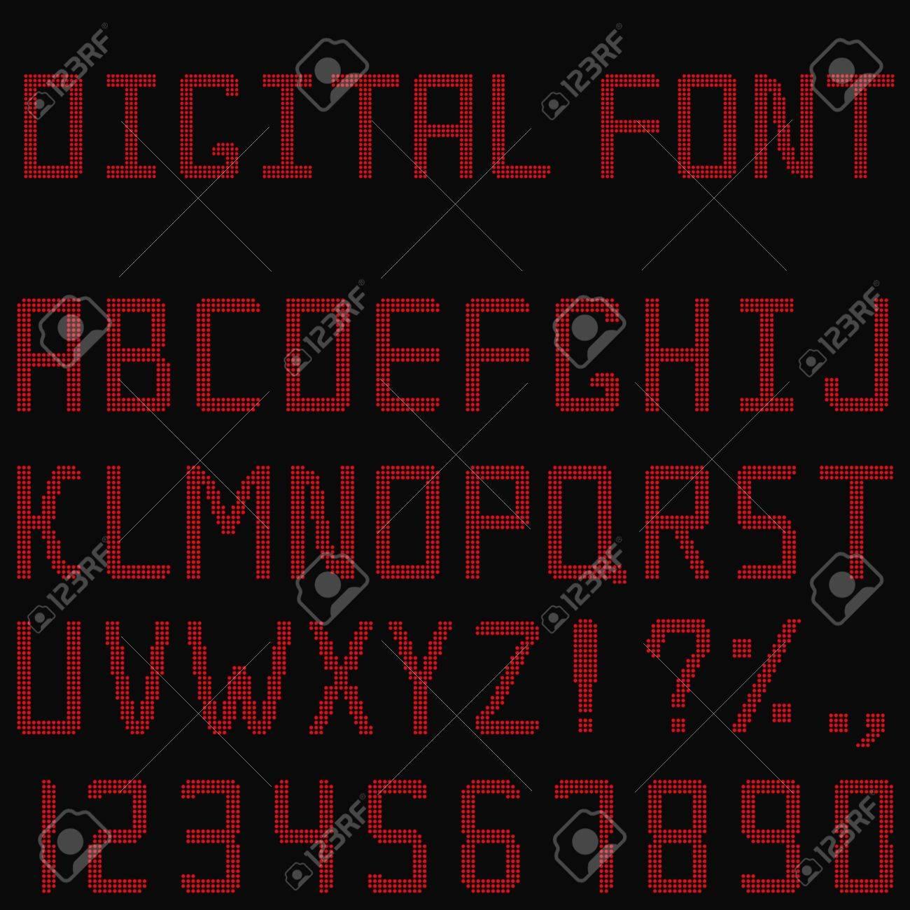 Vector Red Digital Font Stock Vector - 10746796