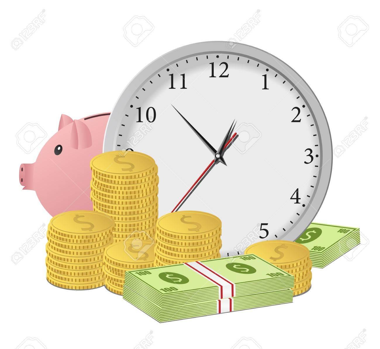Time is money concept with clock, piggy bank, dollar banknotes and coins. Vector eps10 illustration Stock Vector - 10888285