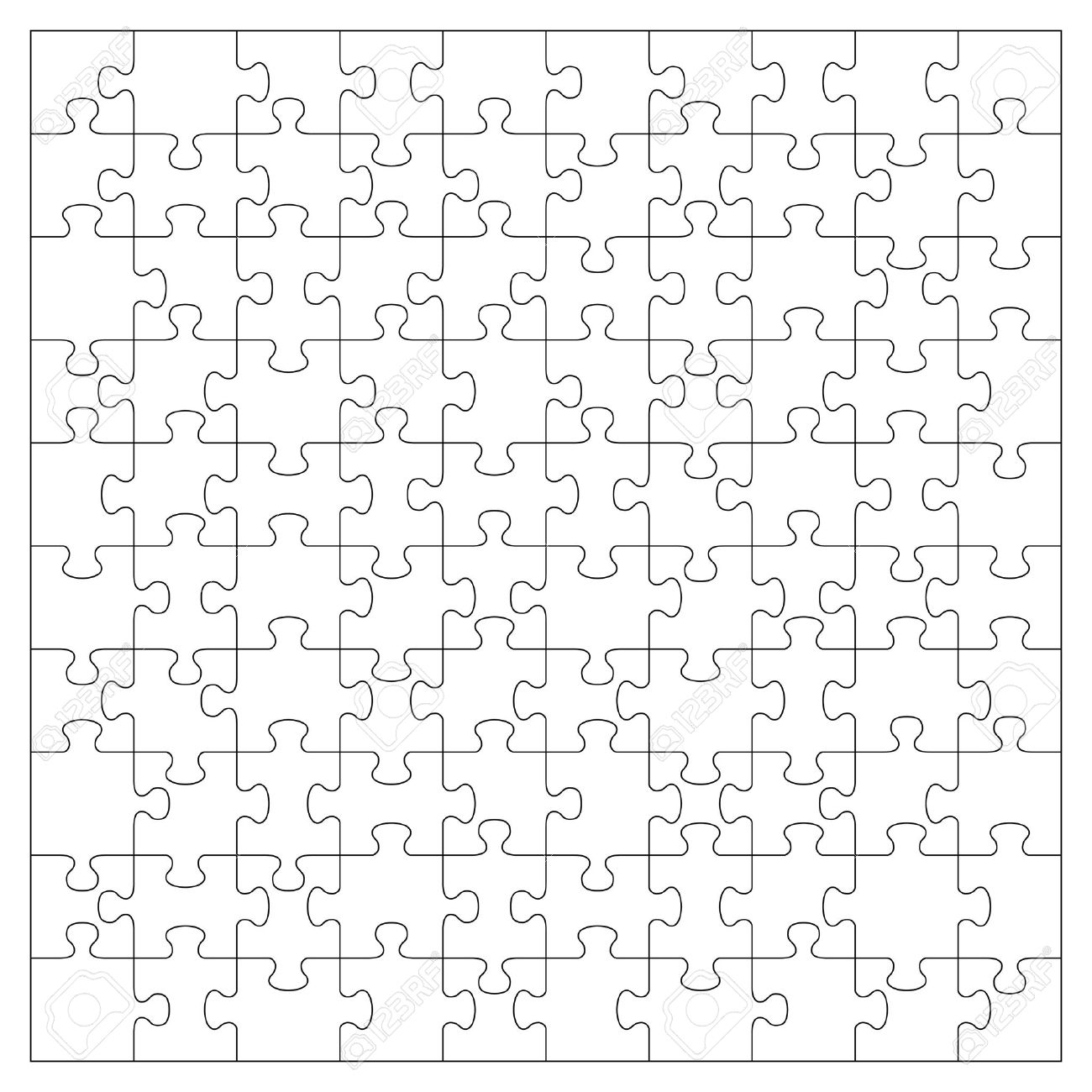 Vector Transparent Jigsaw Puzzle With 100 Pieces Royalty Free
