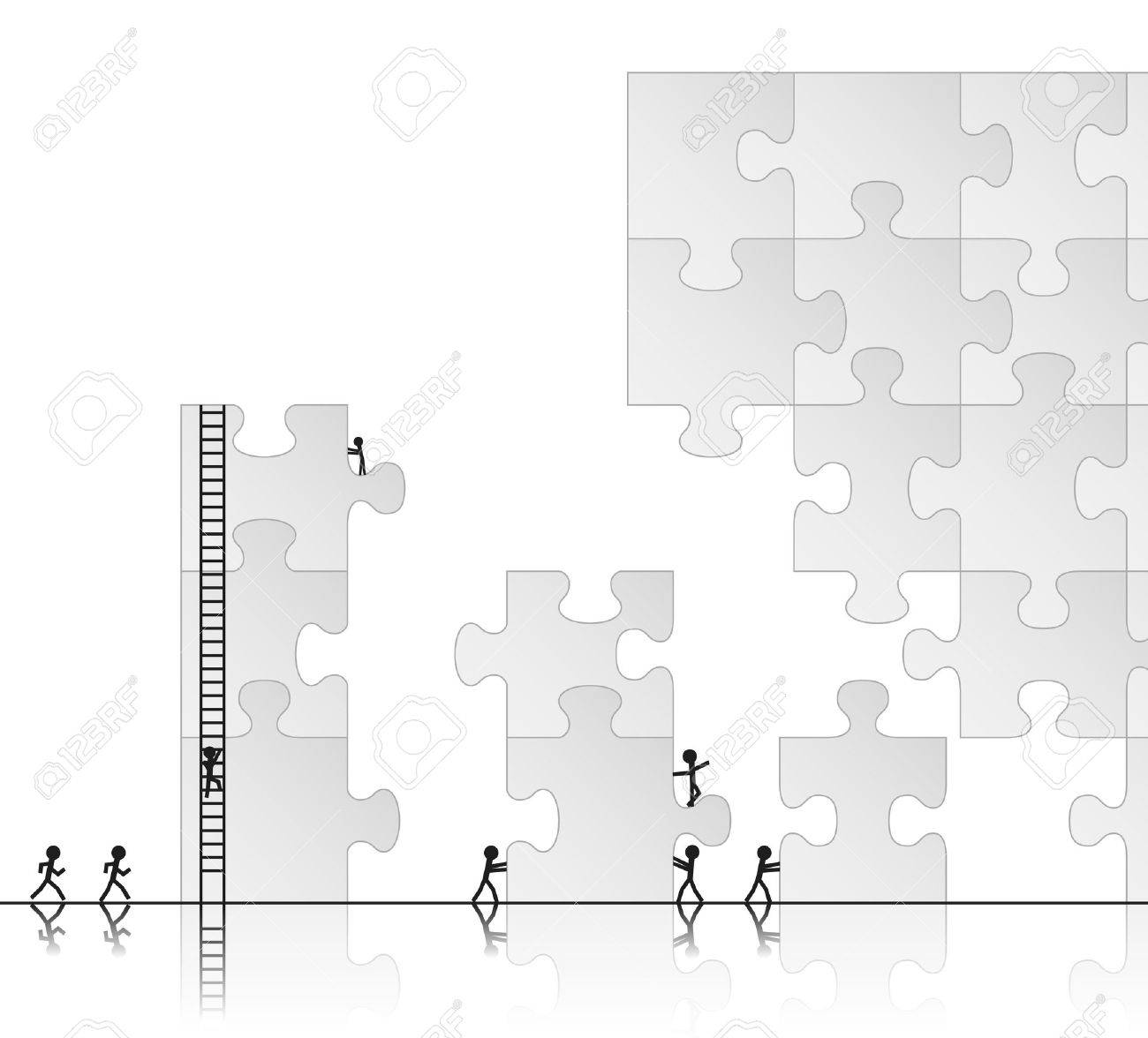Team building a puzzle, vector illustration Stock Vector - 11030266