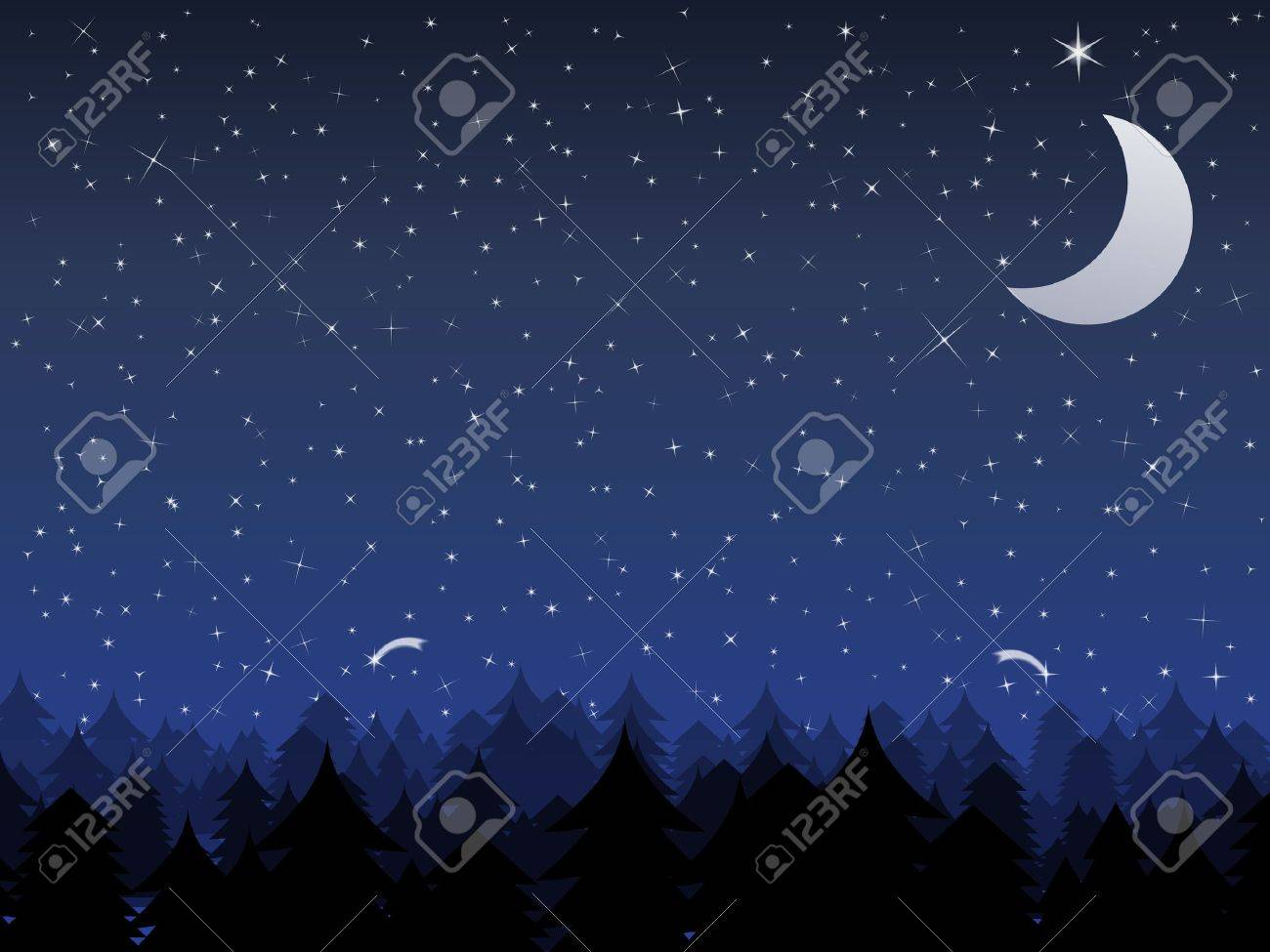 Silhouette of a forest and night sky with stars and moon, vector illustration Stock Vector - 11030290