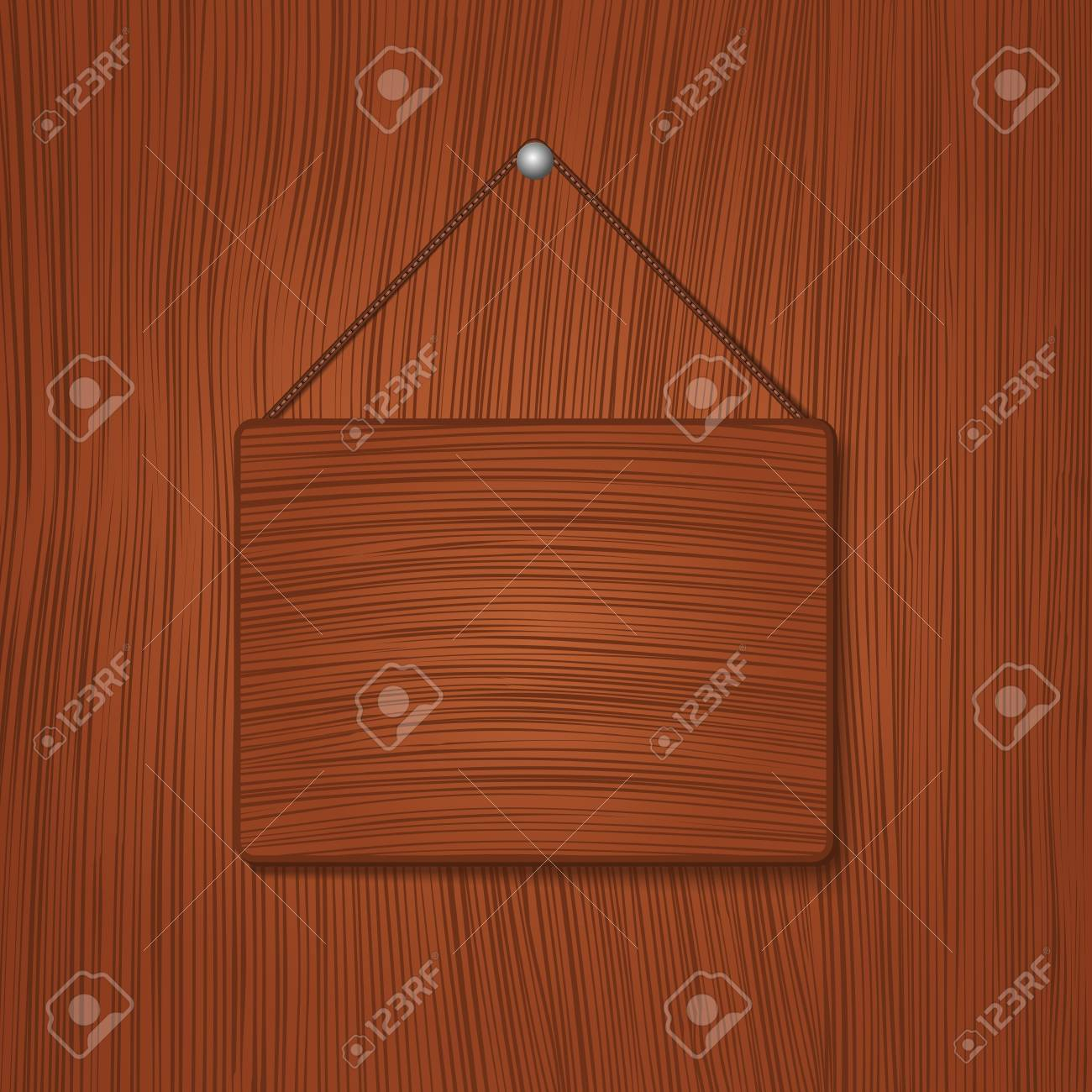 Hanging wooden board Stock Vector - 11933128