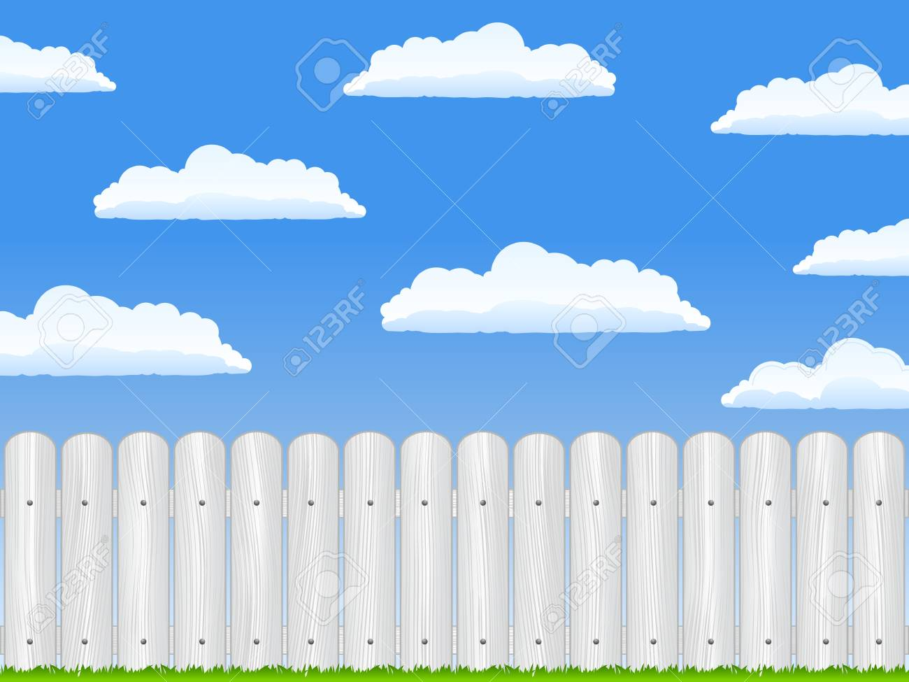 Wooden fence and blue sky with clouds Stock Vector - 12482554
