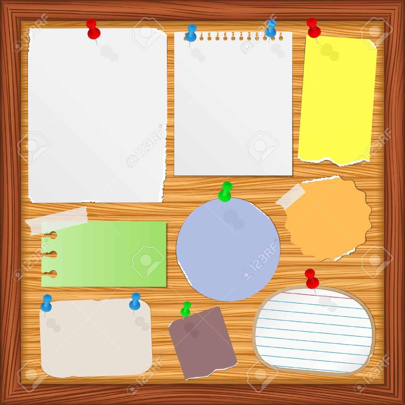 Bulletin board with old paper notes Stock Vector - 12483214
