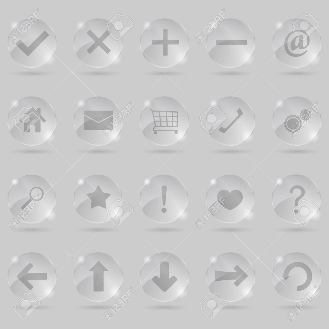 Set of glass icons Stock Vector - 12483541