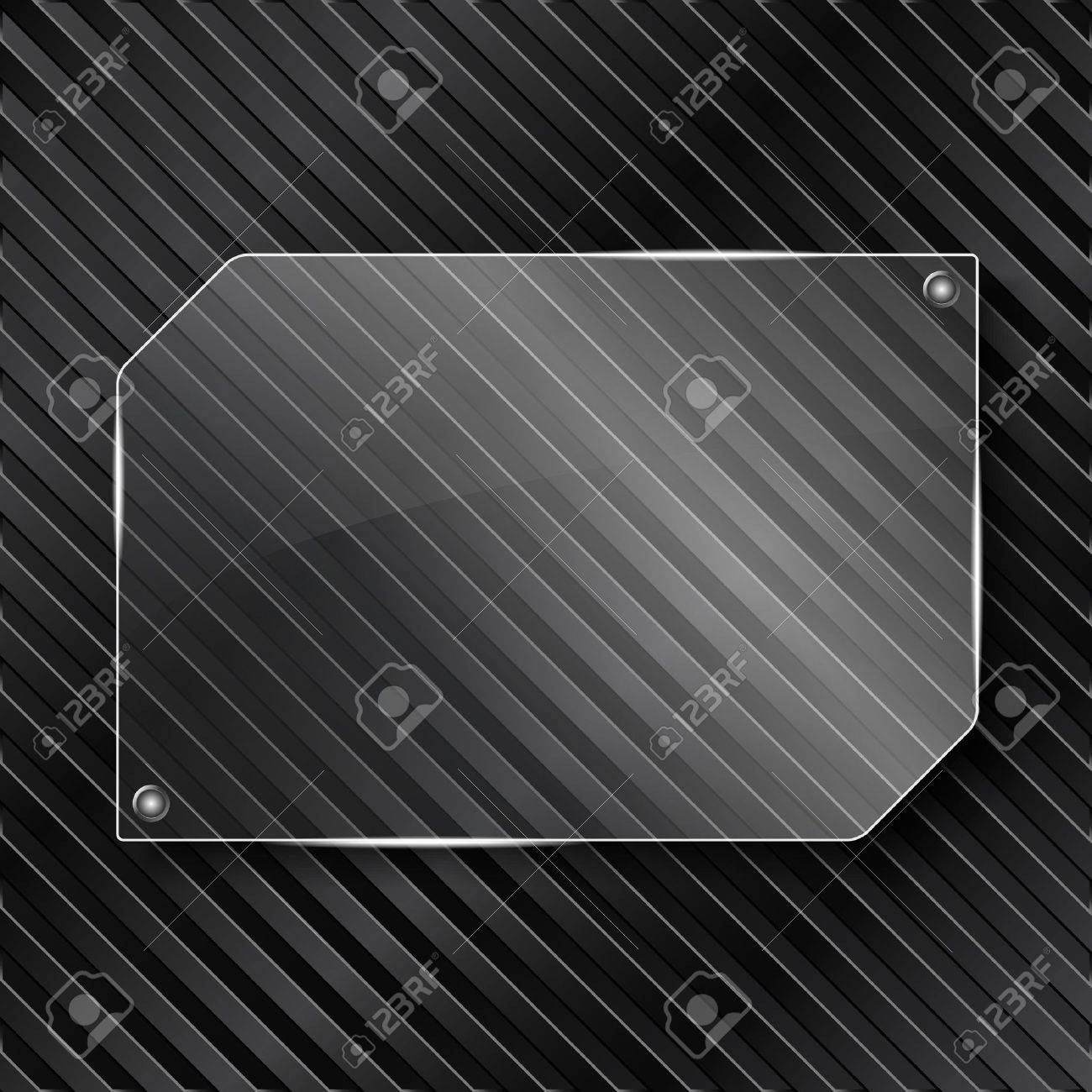 Transparent glass frame on striped background Stock Vector - 13024638