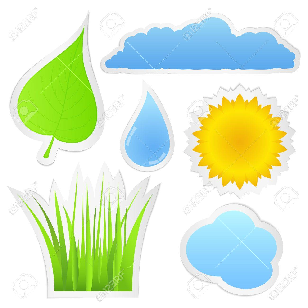 Stickers with nature elements Stock Vector - 13307530