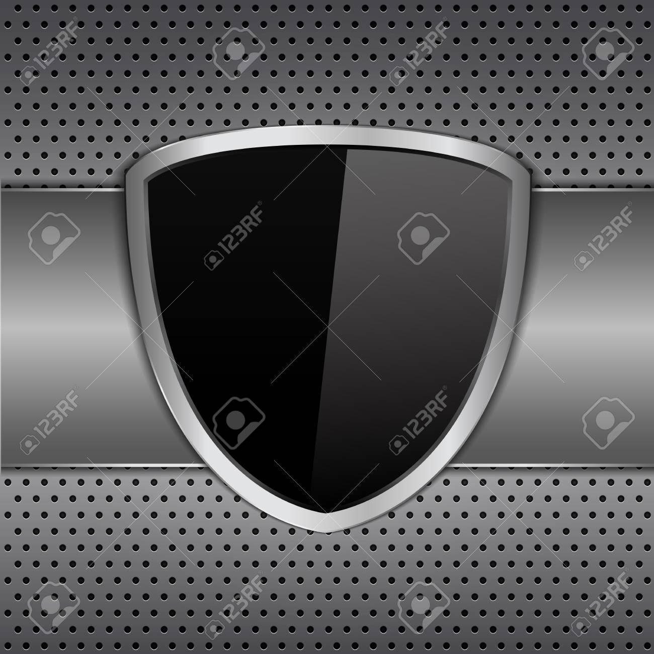 Black shielf on metal background Stock Vector - 13307545