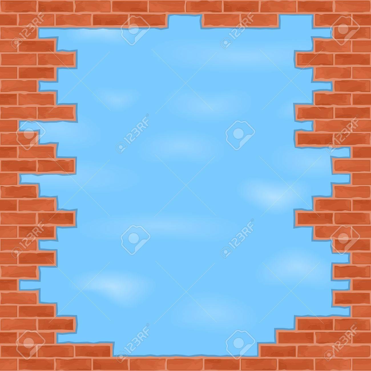 Broken brick wall with blue sky Stock Vector - 14219724