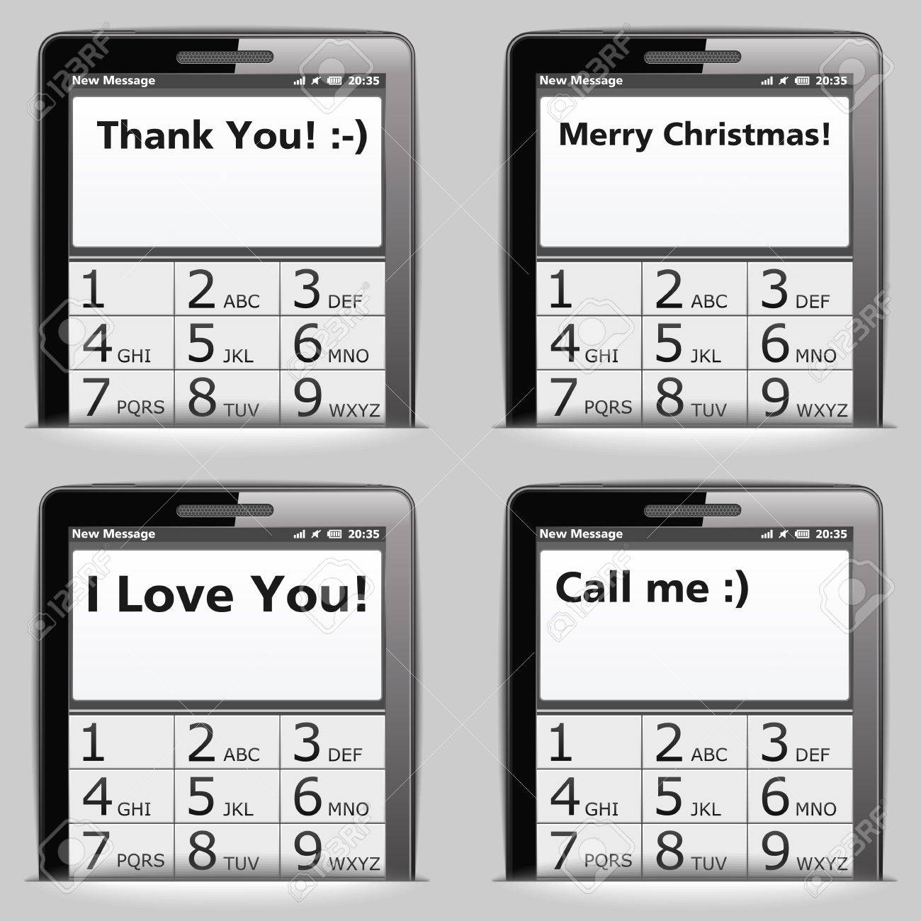 Mobile phone with different messages on the screen Stock Vector - 14557266