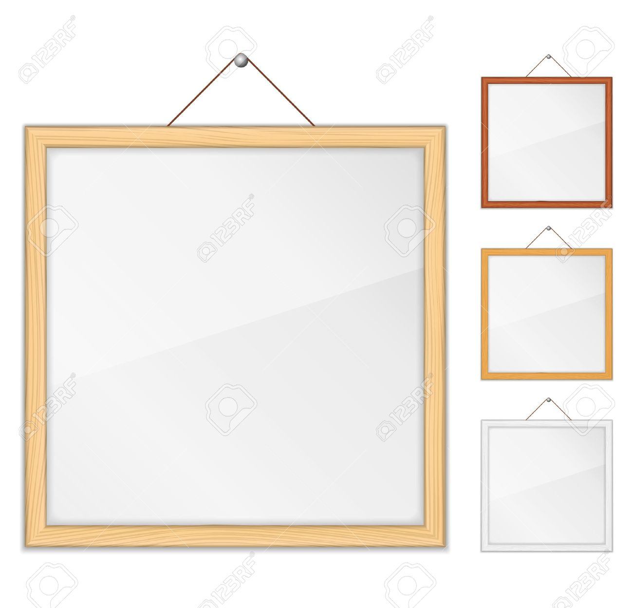 empty wooden frames with glass stock vector - Wooden Picture Frames