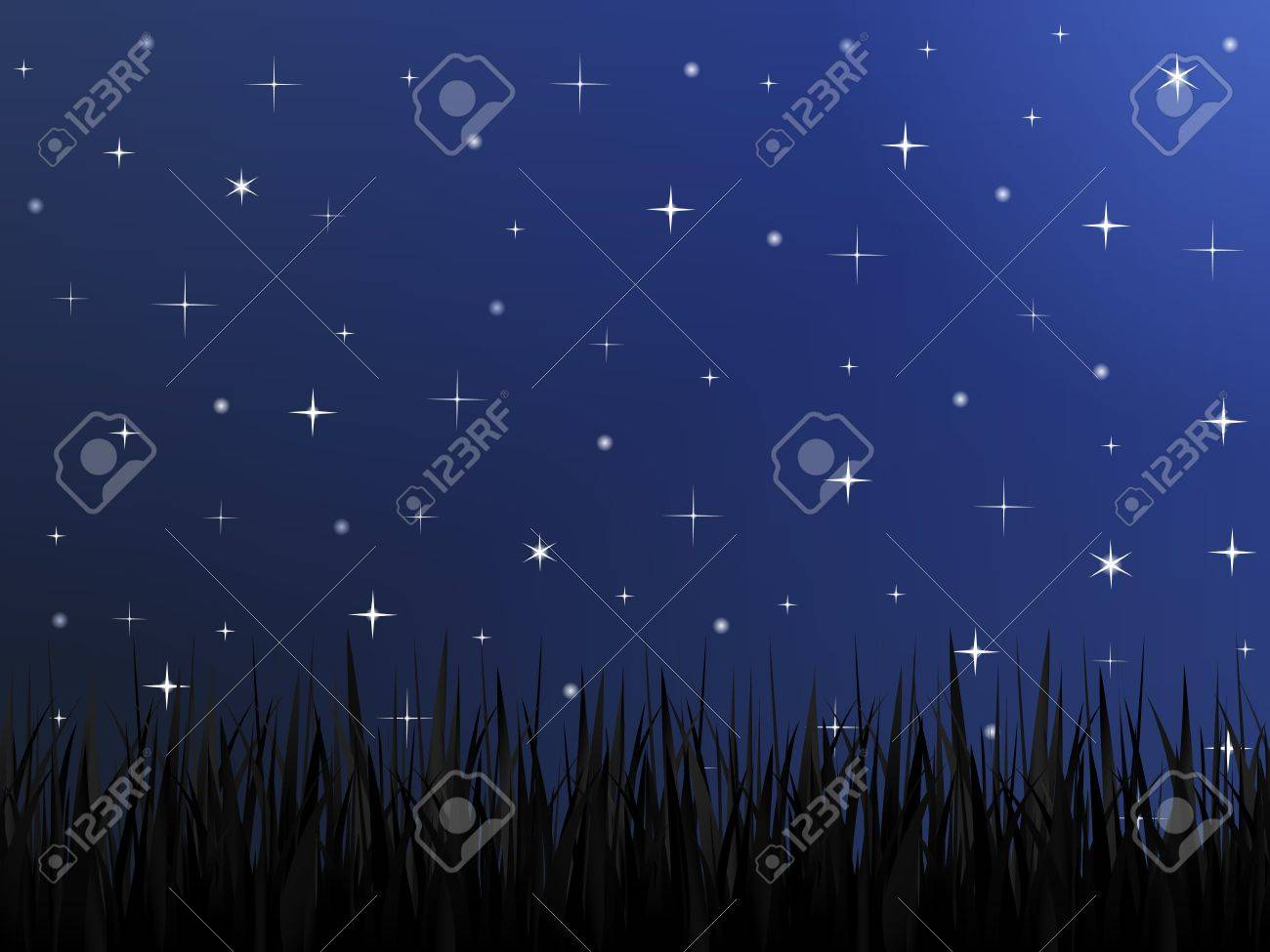 Silhouette of grass and night sky with stars Stock Vector - 14897715