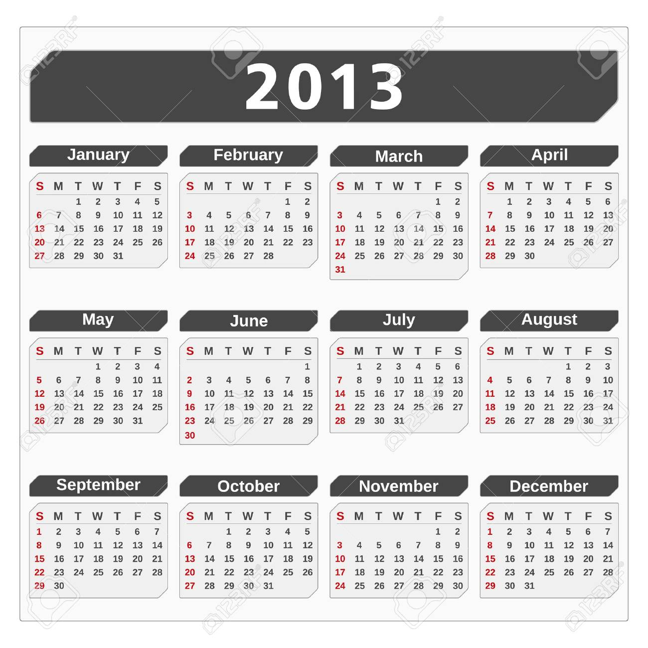 Calendar for 2013 year Stock Vector - 14897764