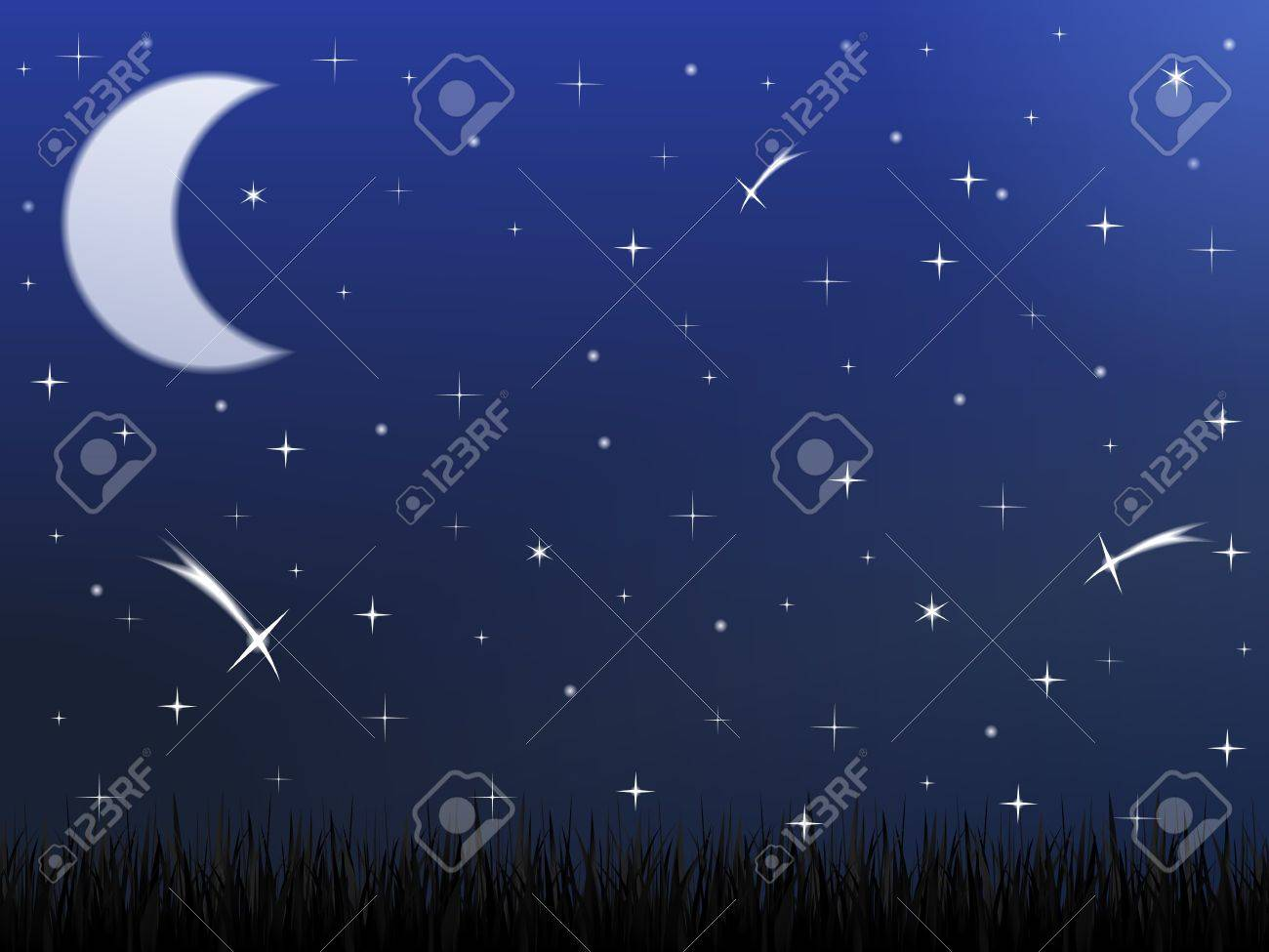 Night sky with stars and moon Stock Vector - 15136696