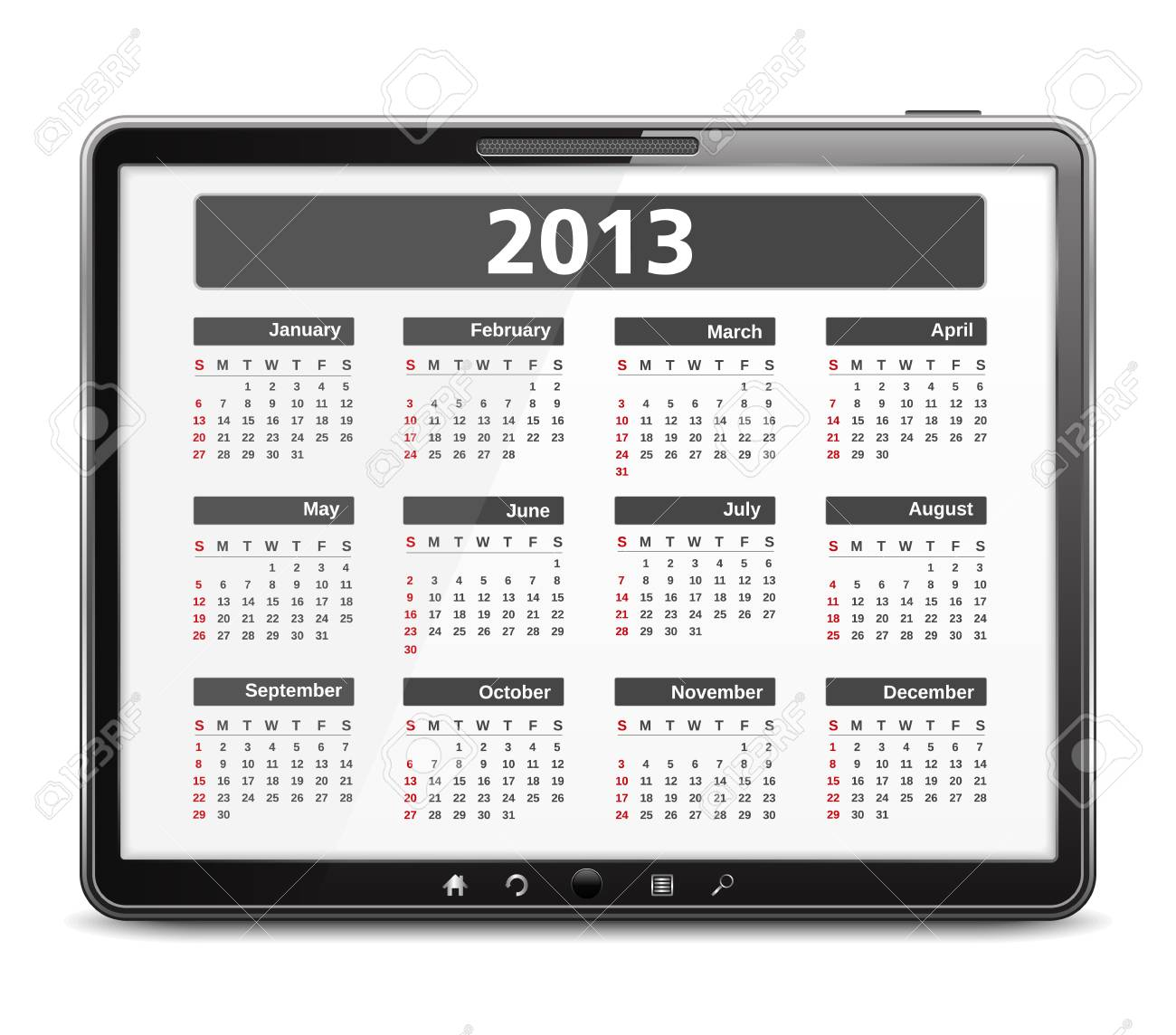2013 calendar on the screen of tablet computer Stock Vector - 16504764