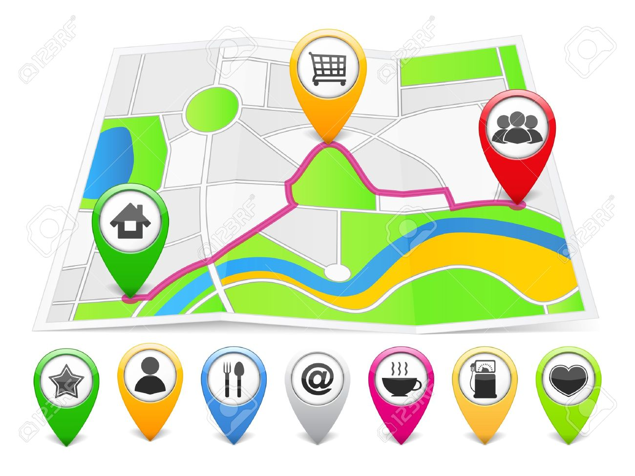Map With Map Pins Royalty Free Cliparts, Vectors, And Stock ...