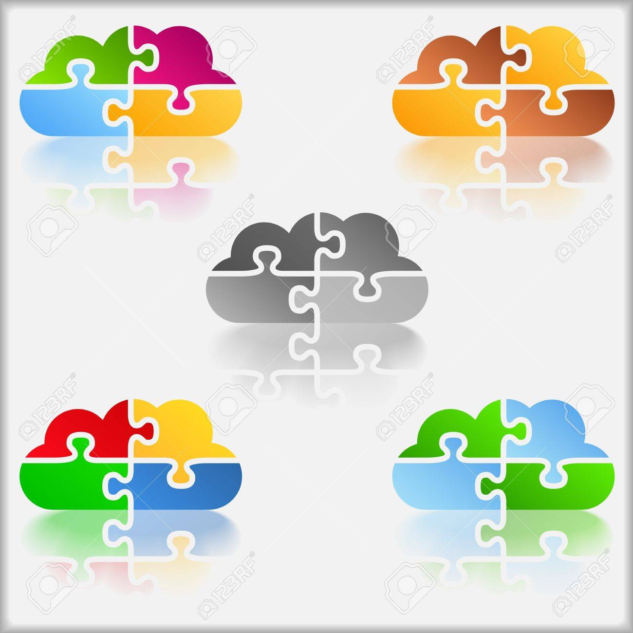 Abstract cloud made of puzzle pieces Stock Vector - 17872752
