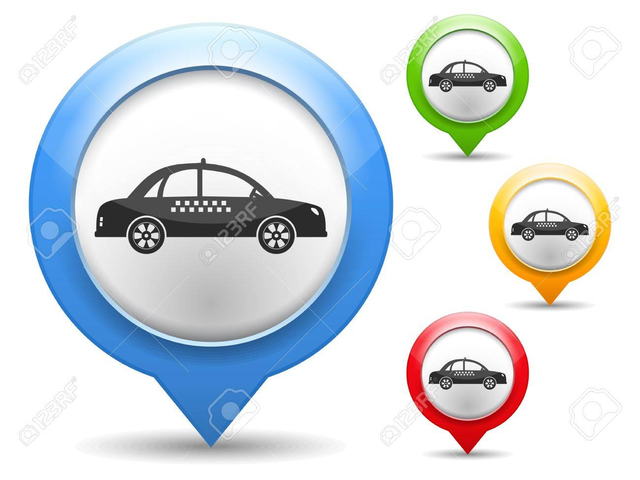 Map marker with icon of a taxi Stock Vector - 18916335